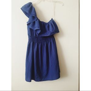 Body Central one shoulder blue party dress